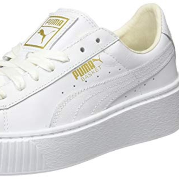 9be6bbda400a Puma Women Basket Platform Core Sneaker White Gold